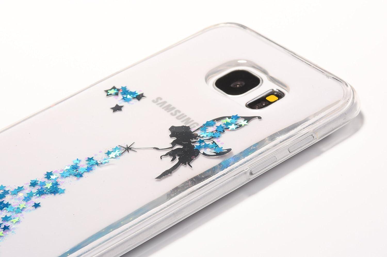 Sycode Glitter 2 en 1 Gradient Couleur Argent Noir Mignon Oreille Ear Dr/ôle Bling Doux Silicone Housse Coque pour Samsung Galaxy S7-Argent Noir