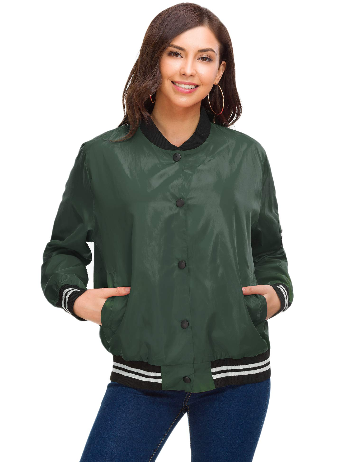 Women Classic Quilted Lightweight Flight Bomber Jacket Solid Loose Fit Windbreaker Warm Stylish Casual Outwear