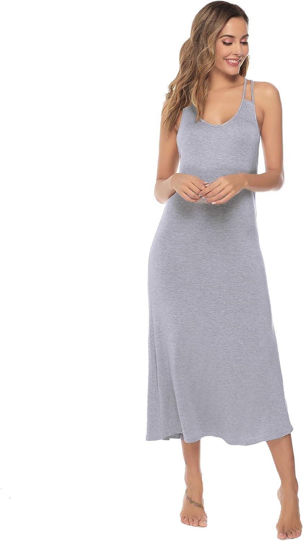 Sykooria Camicia da Notte da Donna Estiva Senza Maniche Donna Vestito Estivo Abito Morbido Disponibile in Stili Lunghi e Corti