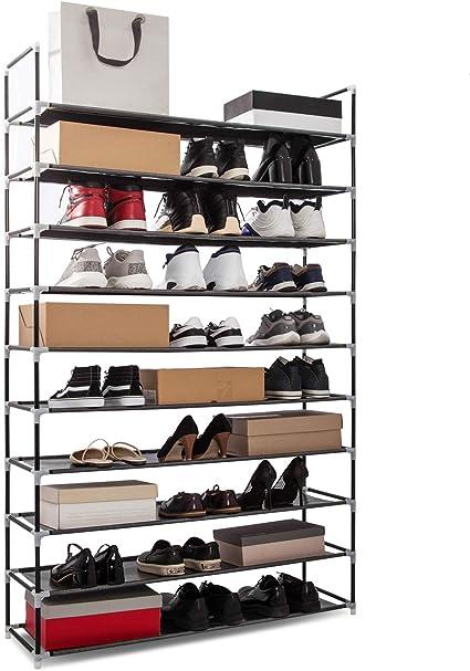 Zapateros Estantería, Zapatero de 10 Pisos Soporte Metálico Capacidad para 50 Pares de Zapatos 100 x 30 x 175 (Negro)