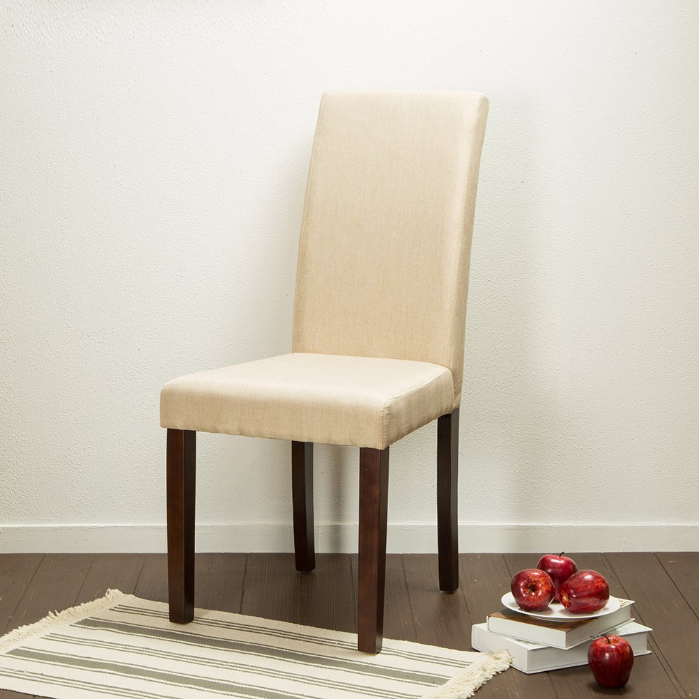 Glitzhome Padded Fabric Dining Chairs Beige, Set Of Two by Glitzhome (Image #6)