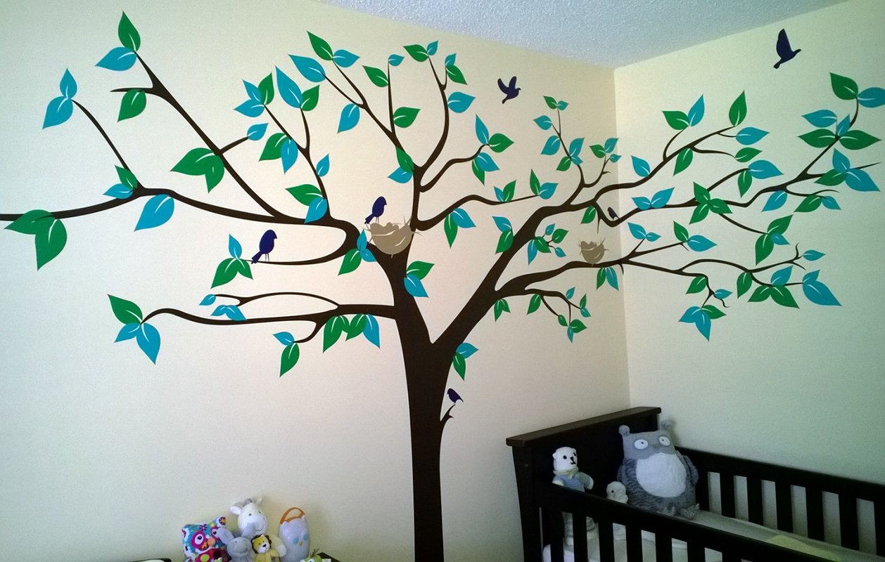 PopDecors - Colorful Super Big Tree Four Colors-133inch W - Beautiful Tree Wall Decals for Kids Rooms Teen Girls Boys Wallpaper Murals Sticker Wall Stickers Nursery Decor Nursery Decals by Pop Decors (Image #2)