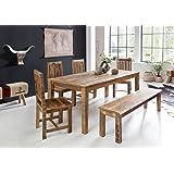 Mesa de Comedor Rustica 180 x 90 x 76 cm Mango Maciza de Madera, diseño rústico Comedor Maciza, Mesa para Comedor…