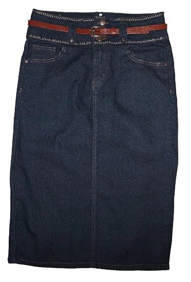 No Fuze Women Curvy Plus Sizes Below The Knee Stretch Denim Skirt Full 28