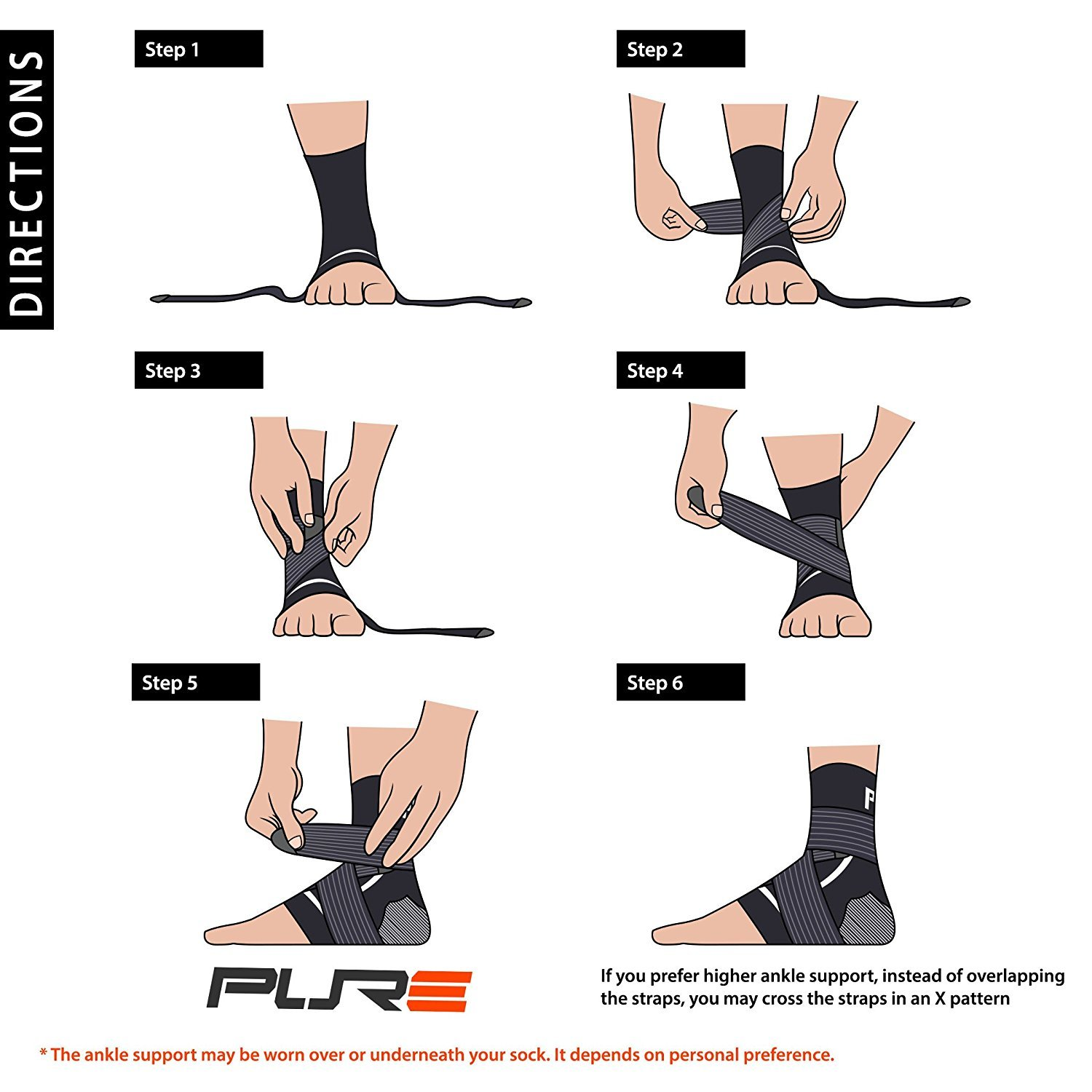 Ankle Support Brace - Compression Sleeve with Adjustable Strap, Great for Running, Ankle Sprains (L/XL, Black - 1 Pair (Two Sleeves)) by Pure Compression (Image #3)