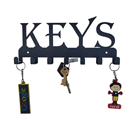 0d3cd75bc01 HeavenlyKraft Keys Black Metal Wall Mounted Key Holder 25 X 12 X 2.5 cm   Amazon.in  Home   Kitchen