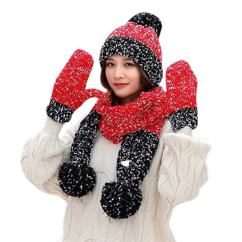 Pandaie-Womens Hats, 3Pcs Women Winter Warm Multicolor Knitted Venonat Beanie Hat+Scarf+Gloves Set by Pandaie-Womens Hats