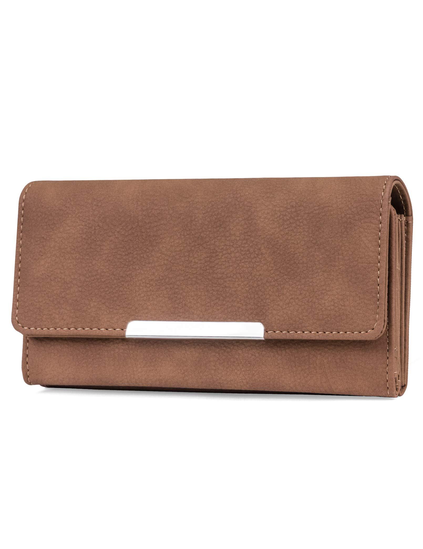 Mundi File Master Womens RFID Blocking Wallet Clutch Organizer With Change Pocket (One Size, (Brown Sugar)) by Mundi