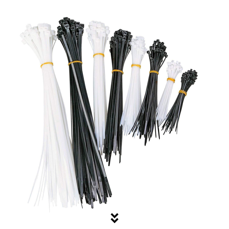 Câble Zip Ties Multi-Pack par Tektiko, 400 pièces, tailles assorties, 100 + 150 + 200 + 300mm, multi-usages, Noir et Blanc