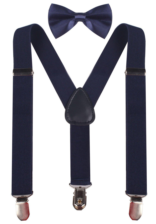 PZLE Big Boys' Adjustable Suspender and Bow Tie Set Navy 30 Inches