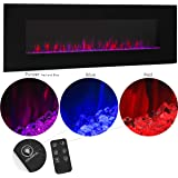 XtremepowerUS Allure Linear Wall Mount Smokeless Electric Fireplace 50-inch Wide w/ 3 Changeable Flame Color Timer Remote