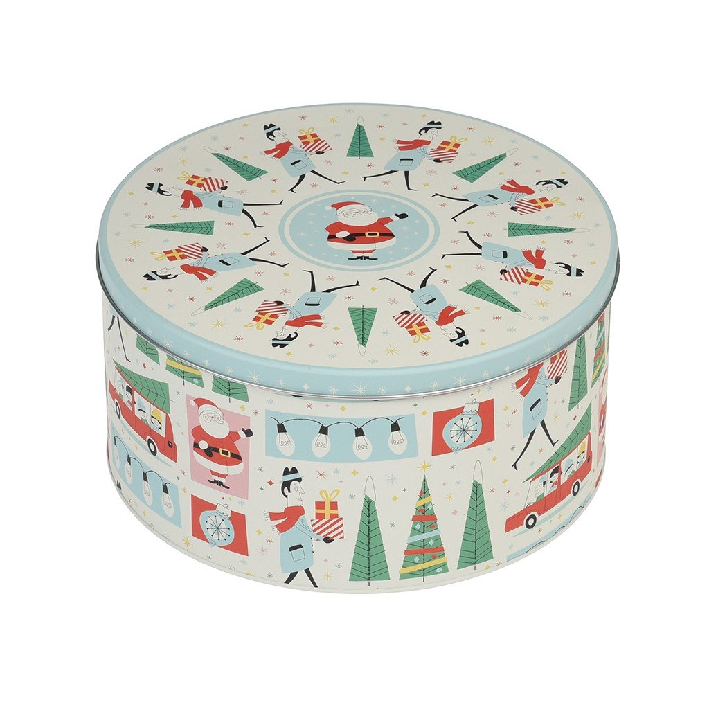 Festive Family Christmas Storage Biscuit Cookie Round Tin Rex International Ltd
