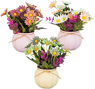 Amazon Com Yapaspt 8 Inch Mixed Artificial Flowers Daisies And Wildflower In Color Pots Dwarf Bushes Fake Plants Set Of 3 Furniture Decor