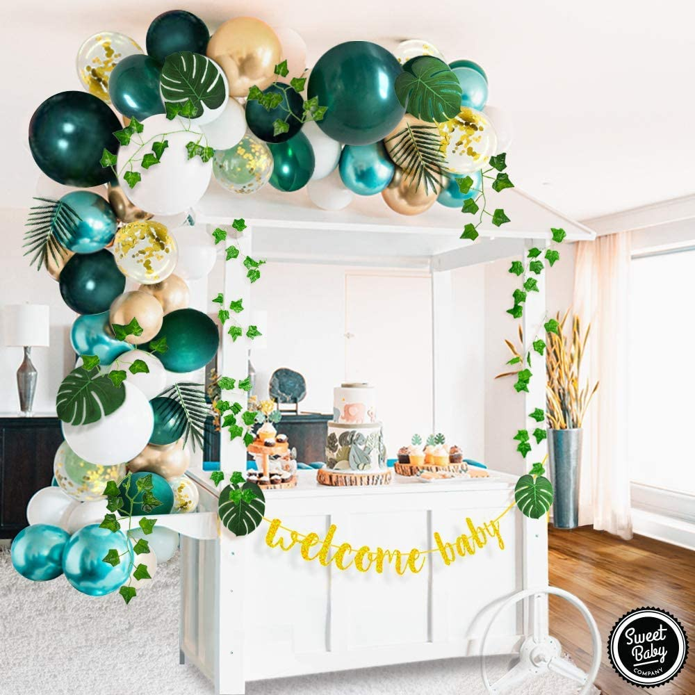 Sweet Baby Co. Jungle Theme Safari Baby Shower Decorations with Green Balloon Garland Backdrop, Tropical Leaves Decoration, Ivy Garland, Welcome Banner, Neutral Birthday Party Supplies for Boy or Girl