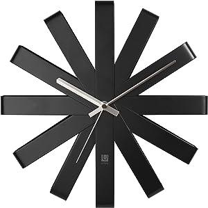 Umbra Ribbon Modern 12-inch Wall Clock, Battery Operated Quartz Movement, Silent Non Ticking Wall Clocks, Black