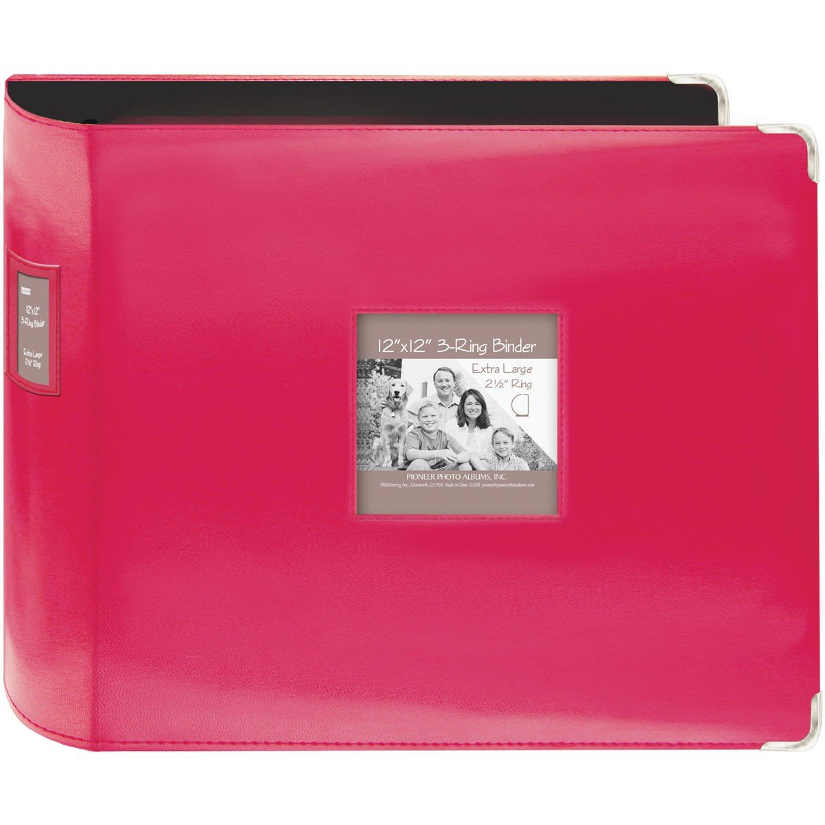 ChatAngle(TM) Sewn Leatherette 3-Ring Binder 12''X12''-Bright Pink by ChatAngle (Image #1)