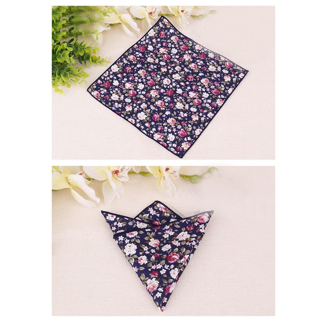 BonjourMrsMr Men's Business Suit Casual Floral Cotton Pocket Square Handkerchiefs Set by BonjourMrsMr (Image #3)