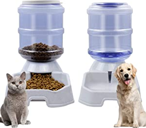 DR.DUDU Cat Dog Automatic Feeding Dispenser & Water Bowl - Large Capacity Automatic Feeding Food Water Dispenser Drinking Fountain for Pets, Square