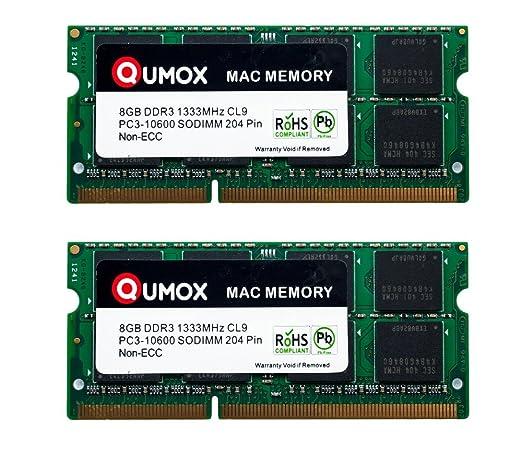 29 opinioni per QUMOX PC3-10600 16GB (2x 8GB) 204-Pin 1333MHz SODIMM Laptop Mac Memoria per