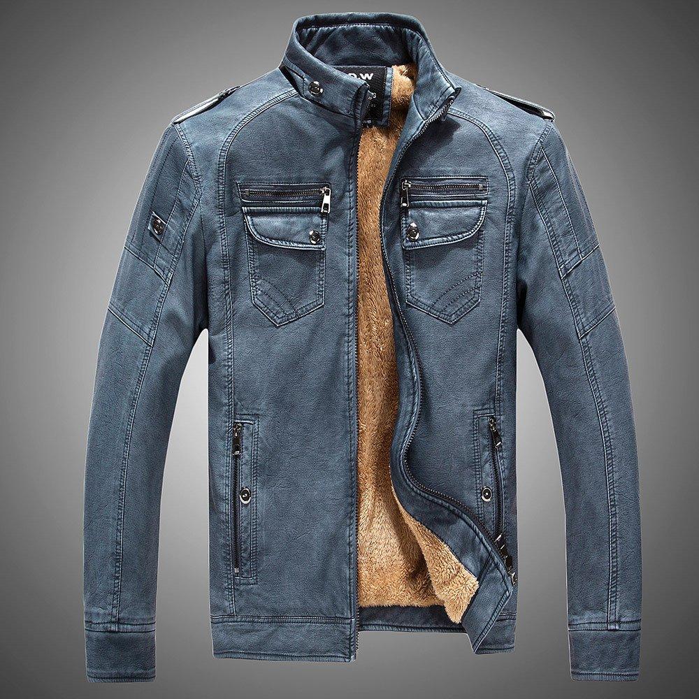bleu XXXXL Cuir et cachemire pour hommes Hommes veste veste en cuir Décontracté Slim