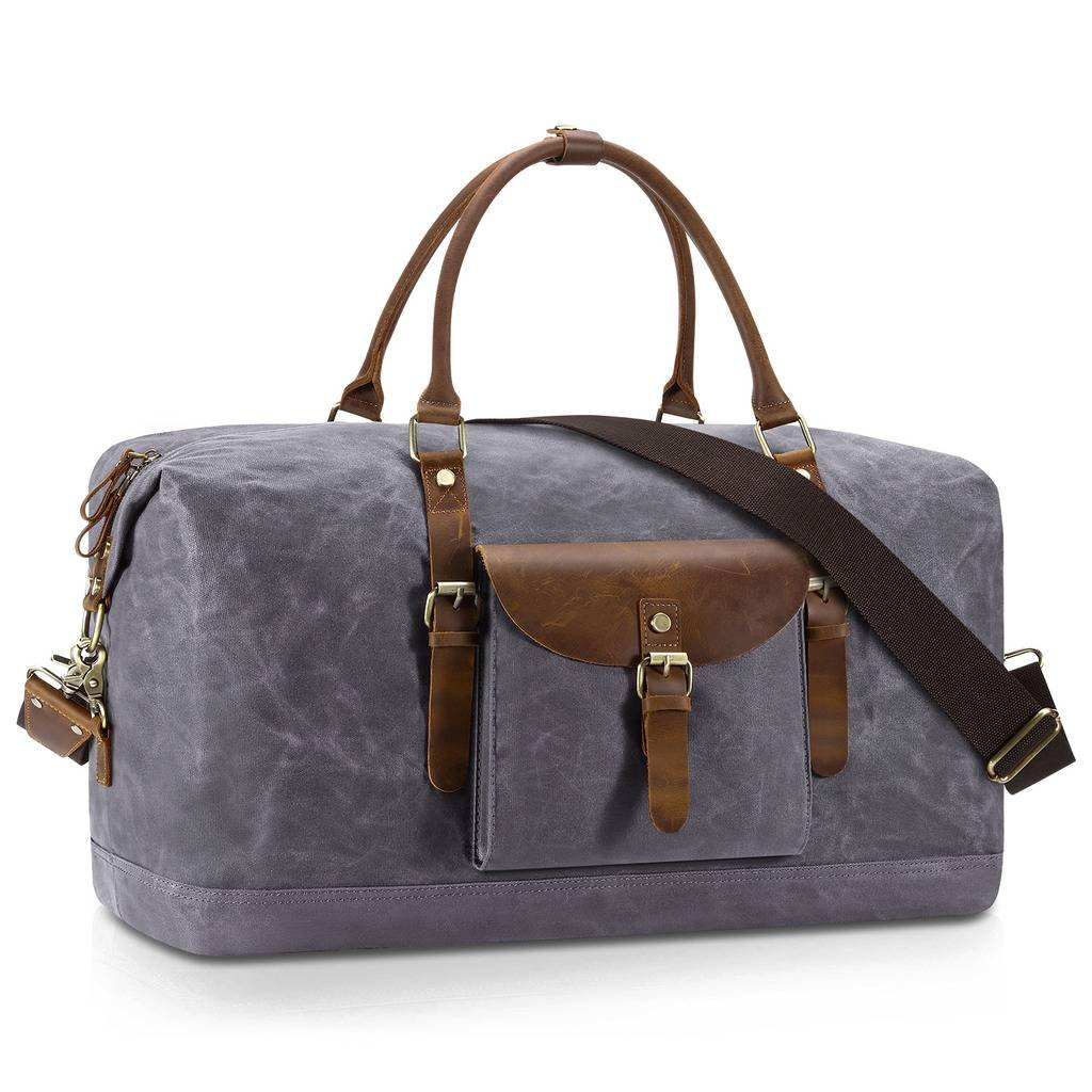 Plambag Oversized Duffel Bag, Waterproof Canvas Leather Trim Overnight Luggage Bag(Grey)