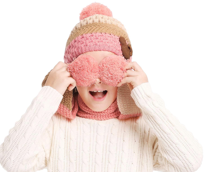Kids Pom Pom Winter Hat and Scarf Set Warm Knit Beanie Cap and Long Scarf