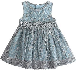 Jimmackey Neonata Bambine Pizzo Vestito Senza Maniche Netto Filato Abito Partito Principessa Dress