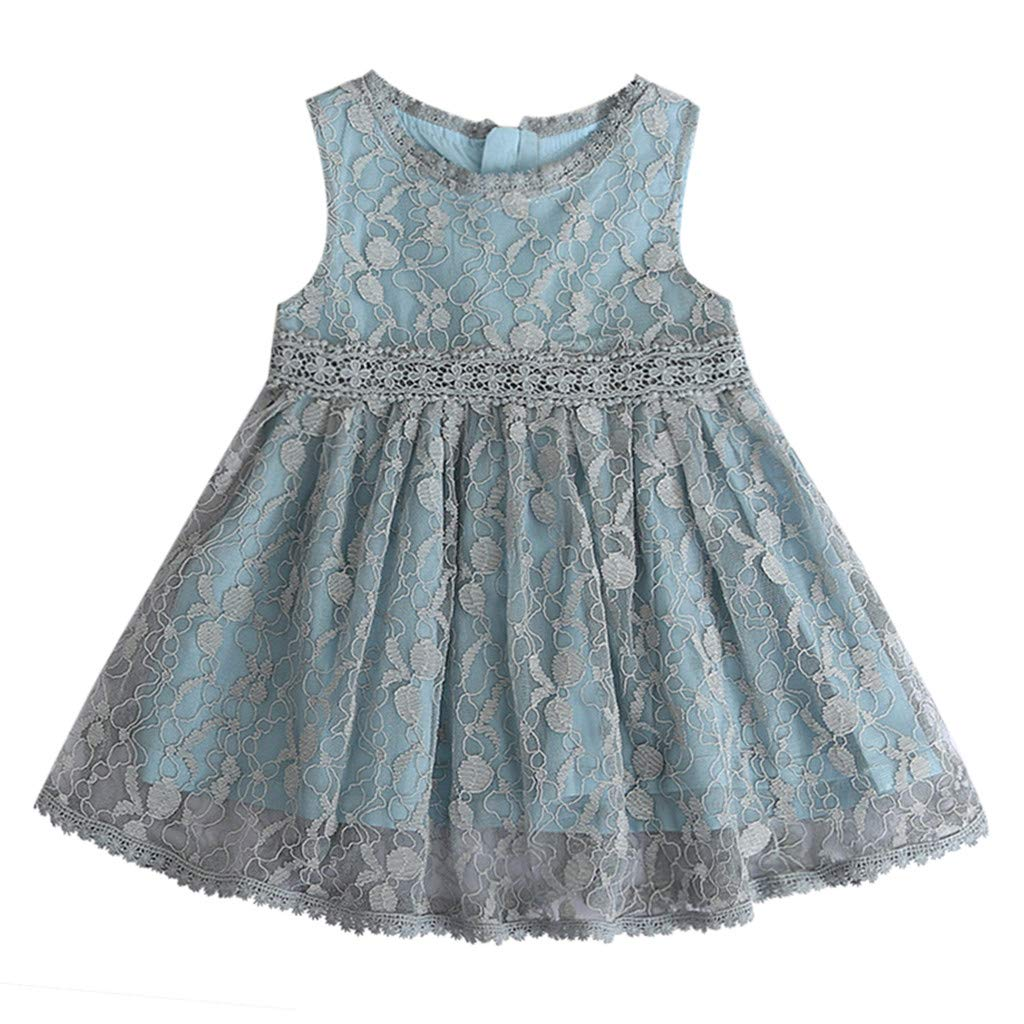 OCEAN-STORE Toddler Baby Girls Princess Dress Clothes Lace Tulle Party Wedding Pageant Sleeveless