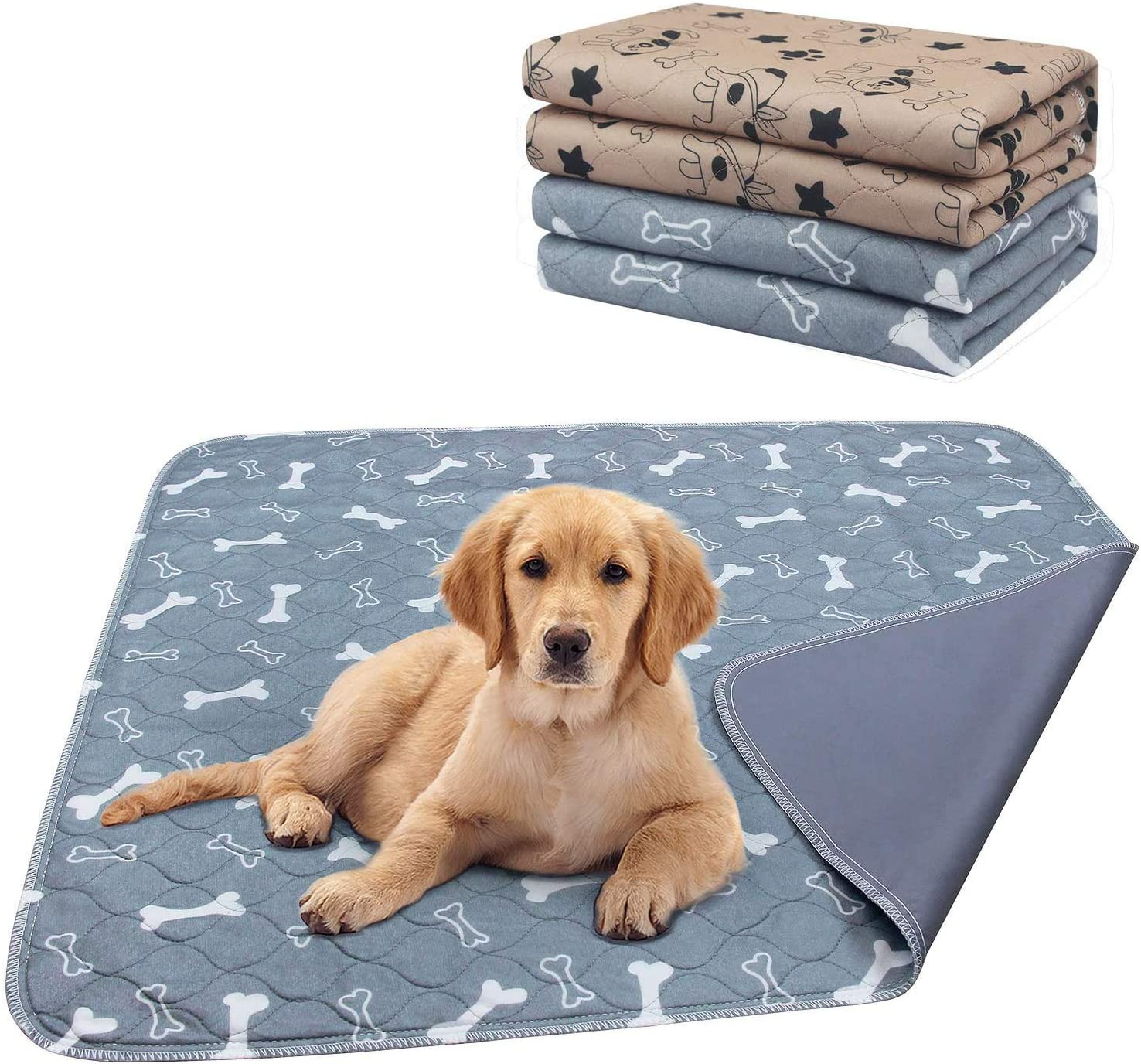 AK KYC 2 Pack Washable Pee Pads for Dogs Puppy Pads Dog Training Pad Waterproof Reusable Fast Absorbent Travel for Dog(35''x 31'') : Pet Supplies