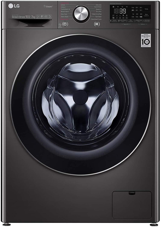 LG 10.5 Kg / 7.0 Kg Inverter Wi-Fi Washer Dryer (FHD1057STB, Black VCM, In-built Heater, Turbo Wash)