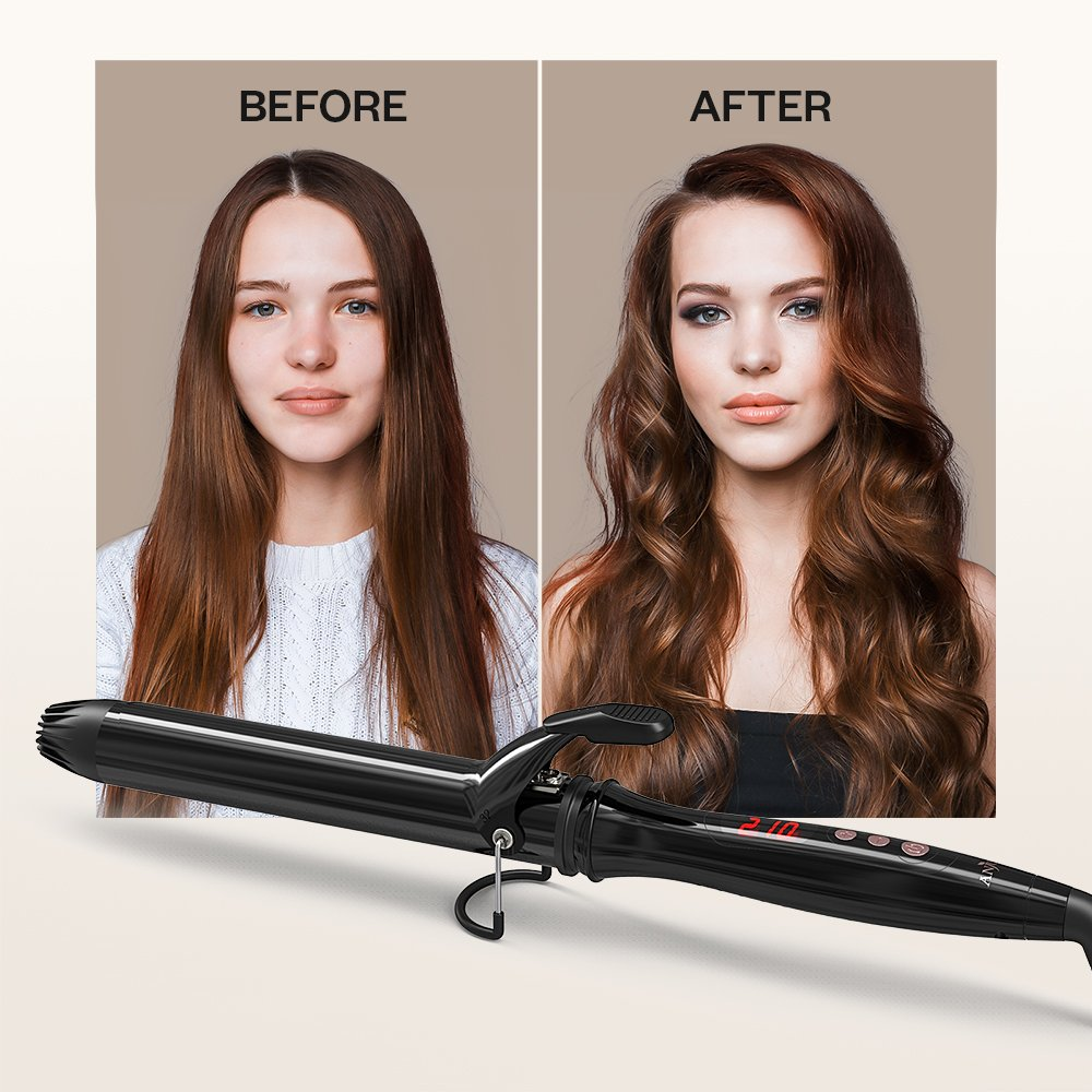 Anjou Curling Iron, 1.25 inch Hair Curler Curling Wand with Anti-scalding Insulated Tip, Ceramic Tourmaline Coating with LCD Diaplay(250 °F to 430 °F, Glove and Curl Clips Included) by Anjou (Image #7)