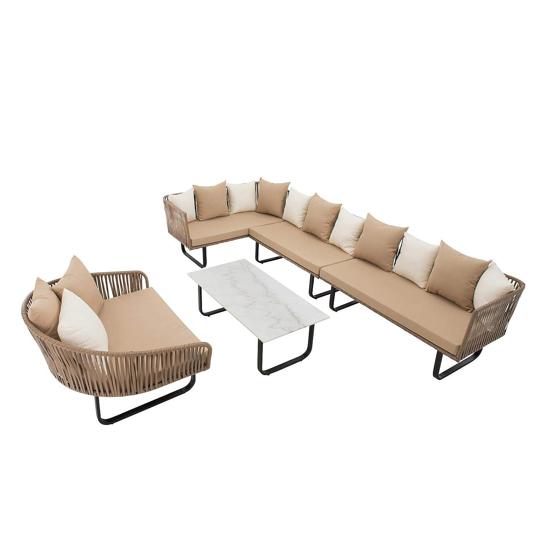 IHD Polyrattan Lounge Set beige, Schnurgeflecht in Seiloptik, 23-teilig, inklusive Tisch mit Platte in Marmoroptik