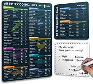 Air Fryer Magnetic Cheat Sheet Set, Air Fryer Accessories Cook Times Sheet, Kitchen Guide Cookbook, include Magnetic Dry Erase Whiteboard (Set of 3)