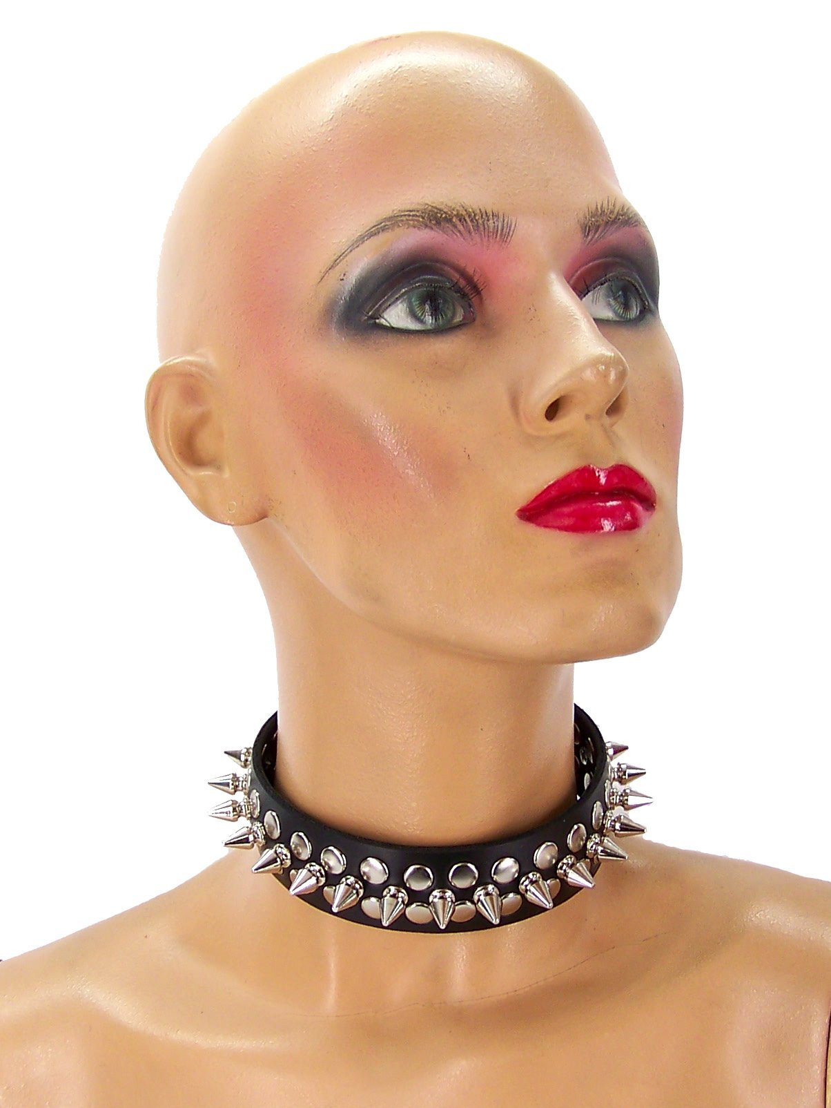 1/2 Metal Punk Spiked Leather Choker (Large) by Axovus