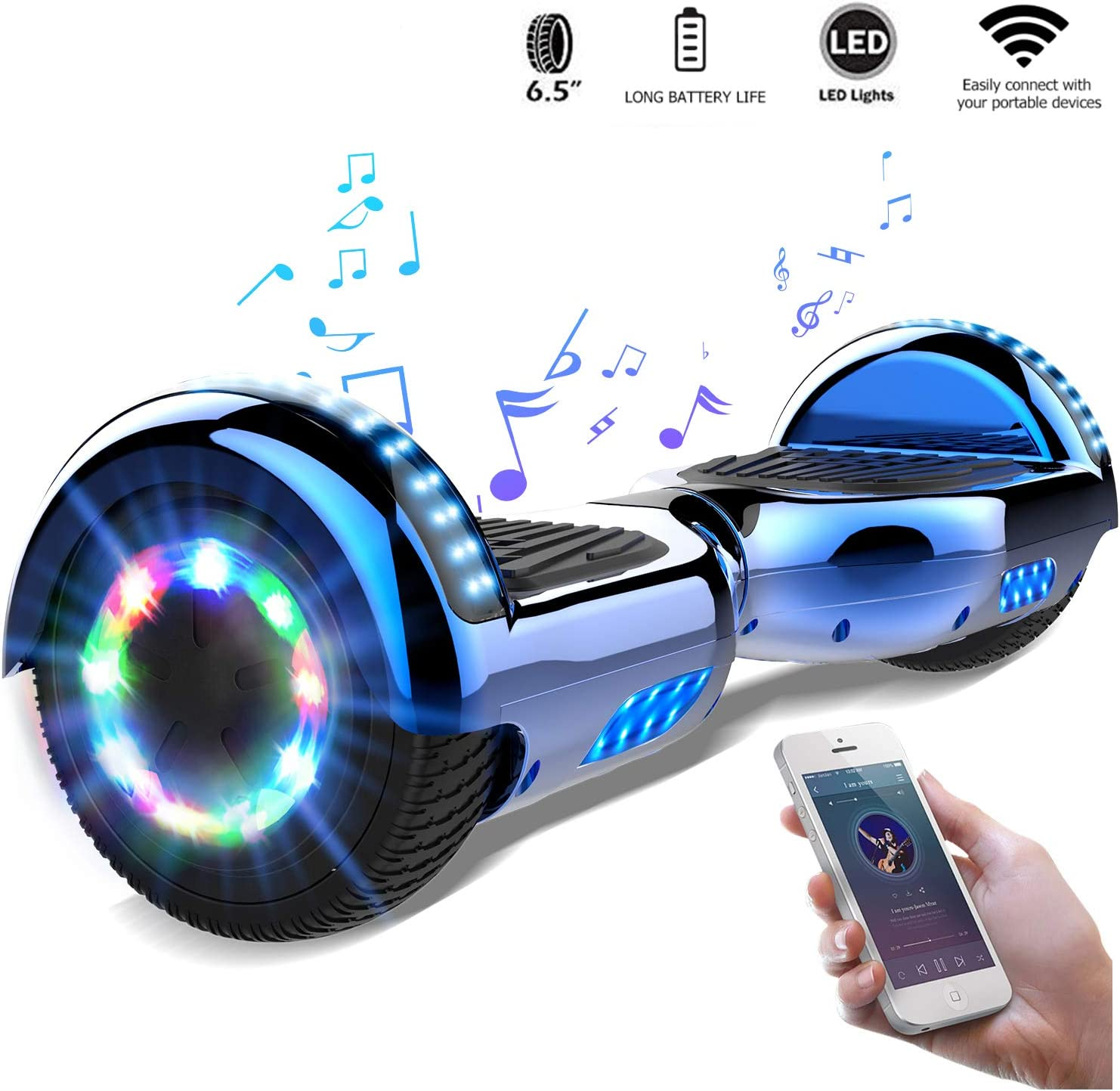 "CITYSPORTS 6.5"" Hoverboard Self-Balancing Scooter with Built in Speaker LED Lights / UK"