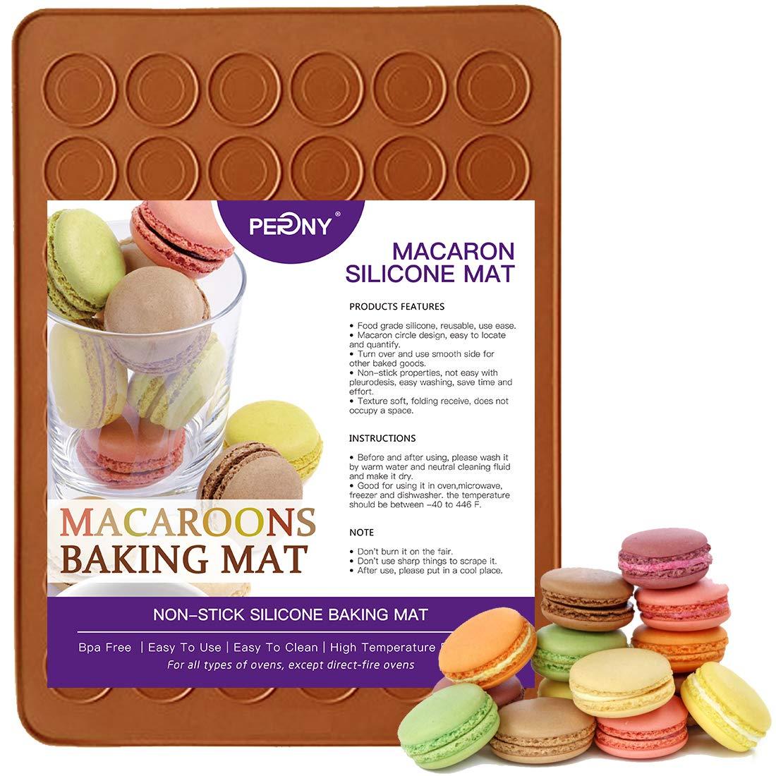 PERNY Macarons Silicone Mat, 48-Capacity Non-Stick Silicone Macarons Baking Mat for Baking 1.5″ Macarons, BPA free by PERNY