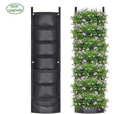 New Upgraded Vertical Hanging Wall Planters with 7 Pockets, Deeper and Bigger Felt Wall Mount Planter Garden Planter for Garden, Outdoor, Balcony, Living Room, Patio (Black): Garden & Outdoor