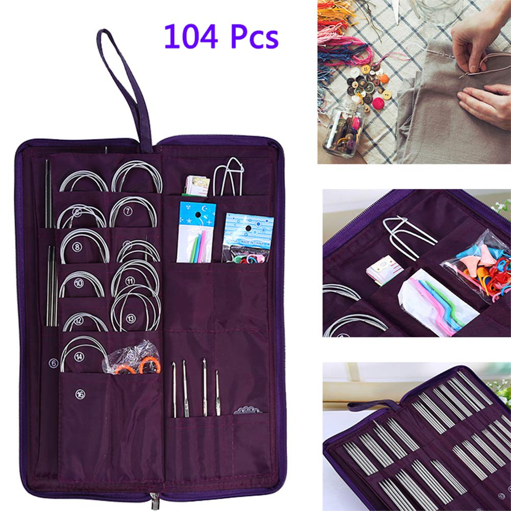 New 104Pcs Steel Straight Circular Knitting Needles Crochet Hook Weave Tool Sewing Tools Set