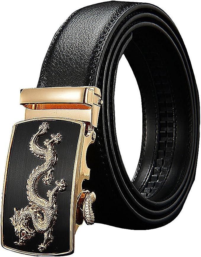 Celino Men Stitched Genuine Cowskin 1.38 Wide Automatic Textured Buckle Belt
