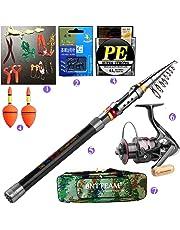 BNTTEAM 7 PACKS 2.1m,2.4m,3.0m 3.6m 99% Carbon Telescopic Fishing Rod & 11BB Reel & Fishing Bag & Lures & Line, Fishing Rod Combo Set