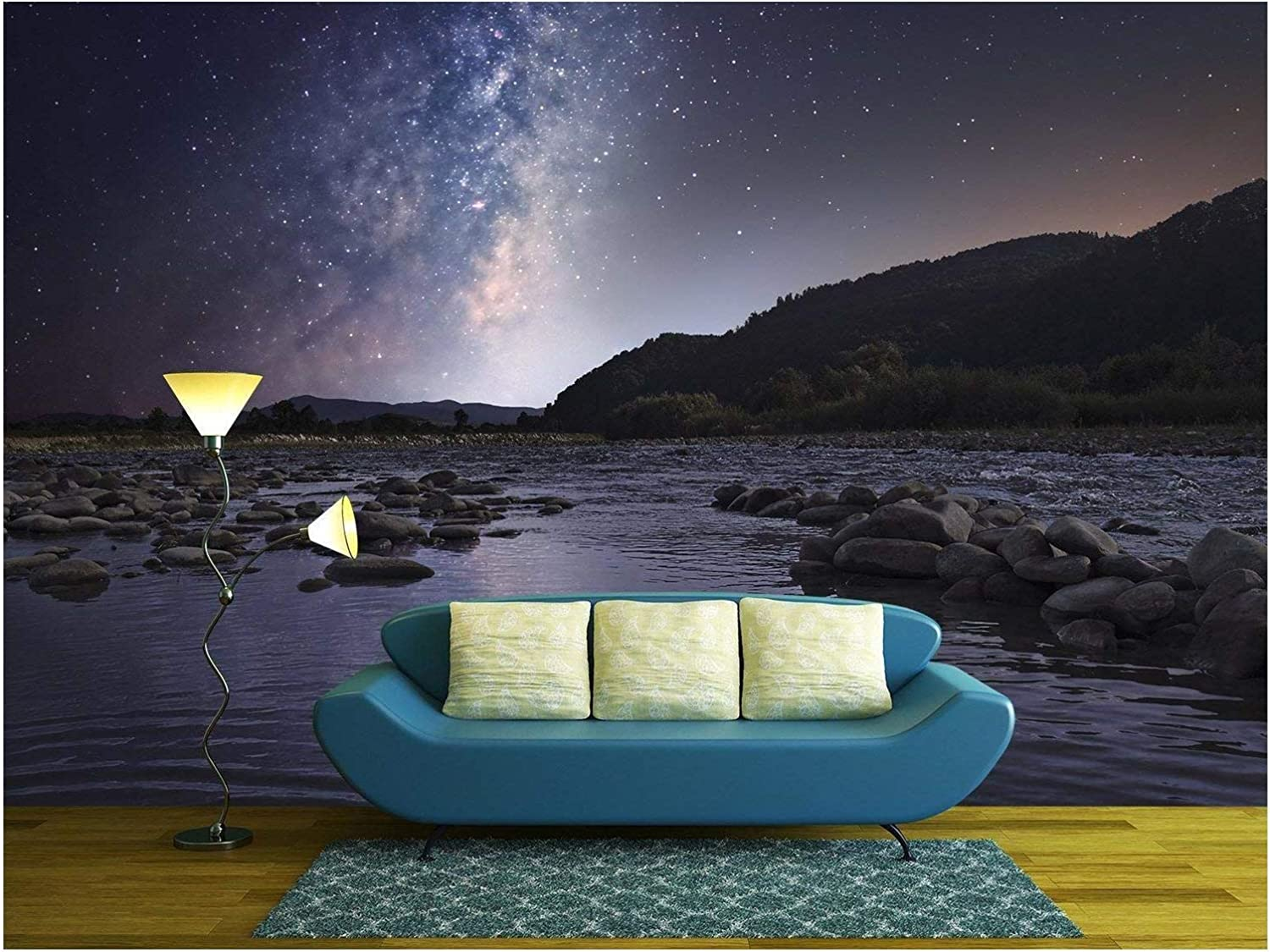 wall26 Starry sky over mountain river Self-adhesive Large Wallpaper Removable Wall Mural