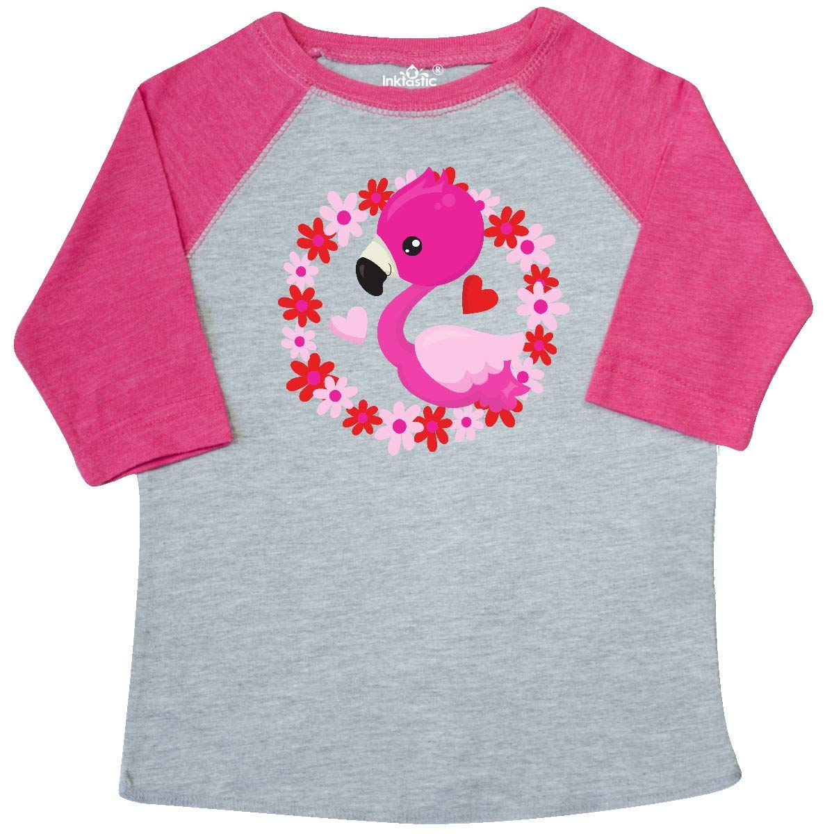 inktastic Cute Flamingo Hearts Floral Wreath Pink Red Toddler T-Shirt