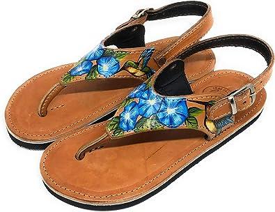 Sandalias de Dedo para Mujer Exclusivas ARTESANAS Garantía Cuero Hechas y PINTADAS A Mano: Amazon.es: Zapatos y complementos