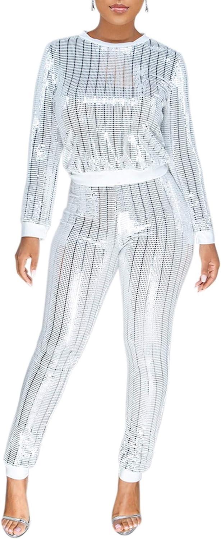Conjunto de 2 piezas para mujer con cremallera y pantalones de ch/ándal de invierno con lentejuelas