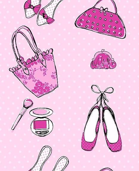 Pink Cute Shoes Handbags Gladrags Wallpaper Girls Bedroom Nursery