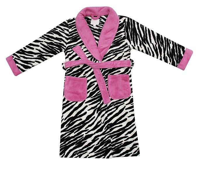 Ropa de descanso para niñas Super albornoz para hombre de tejido polar suave para albornoz de estampado de leopardo diseño de piel de cebra 2-13 años: ...