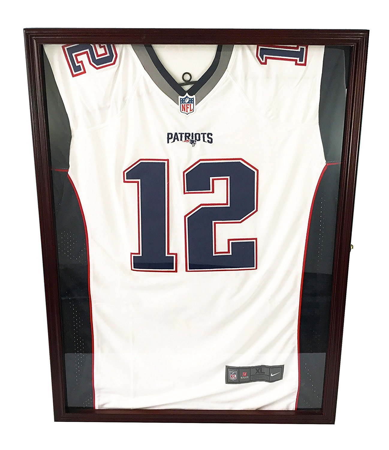 DECOMIL ULTRA CLEAR UV Protection Baseball/Football Jersey Frame Display Case Shadow Box, Cherry
