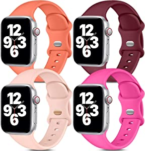 Dirrelo Band Compatible with Apple Watch Bands 38mm 40mm, [4-Pack] Soft Silicone Strap Wristbands for iWatch Series 3 5 6 4 2 1 SE Women Men, Small Coral, Claret, Pinksand, Rose