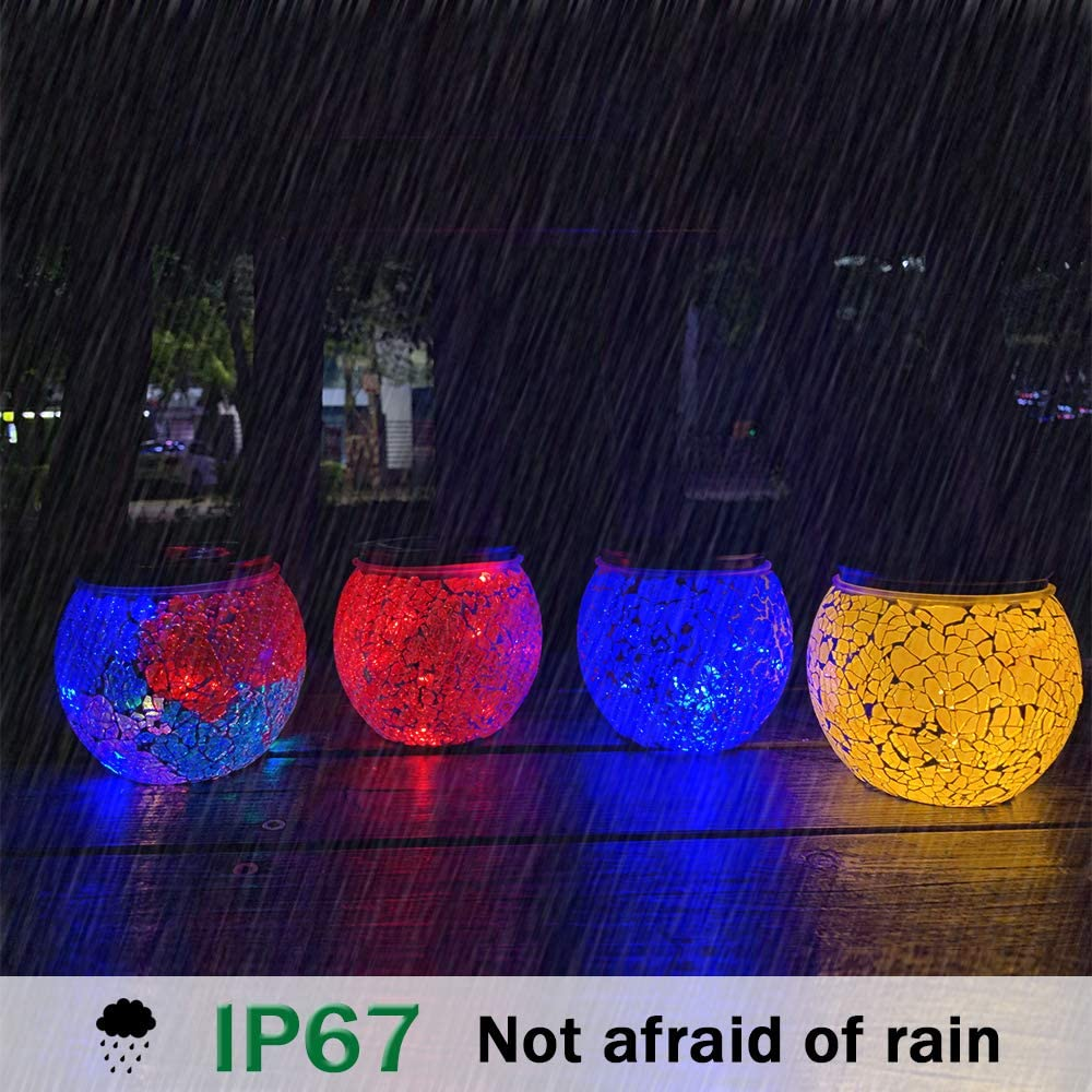 Nurluce 4 Pack Battery Operated Outdoor Tabletop Lanterns 10 LED Outdoor Garden Mosaic Glass Decorative Lanterns Cracked Glass Waterproof Table Lamp Waterproof Mood Lights for Patio Garland Garden - -