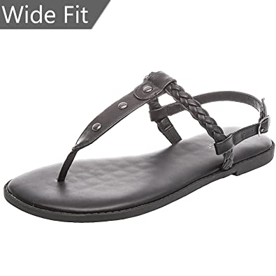 ff628f0e9f5 Women s Wide Summer Flat Sandals - Open Toe One Band Ankle Strap Flexible  Shoes. (